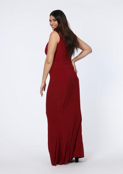 Pink Clove Berry V Plunge Strappy Sleeveless Maxi Dress view 2