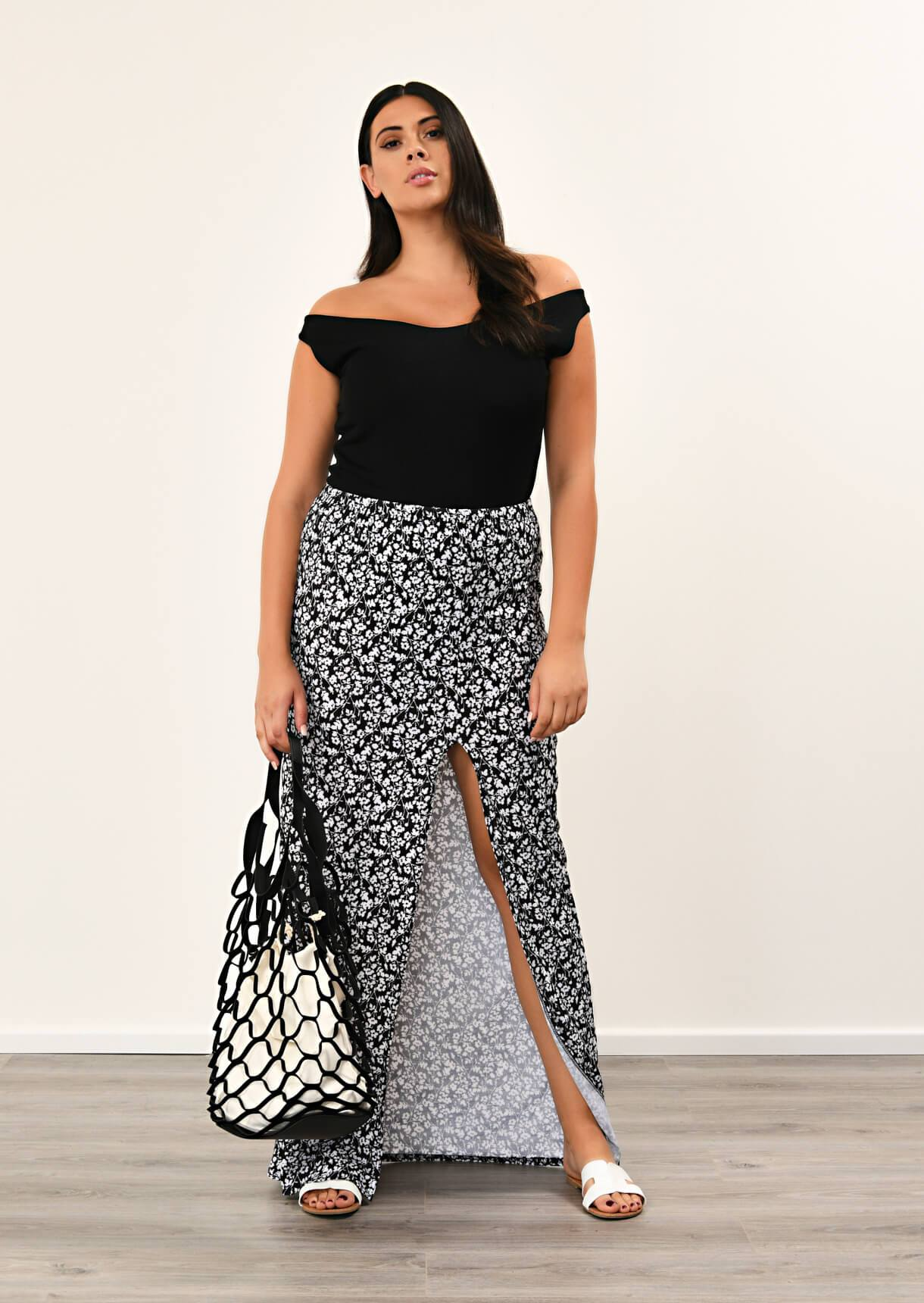 Black Front Tie Split Maxi Skirt