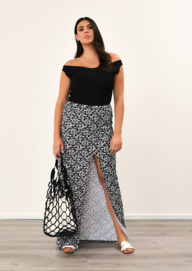 Pink Clove Black Front Tie Split Maxi Skirt view main view