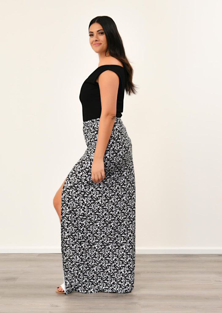 Pink Clove Black Front Tie Split Maxi Skirt view 2