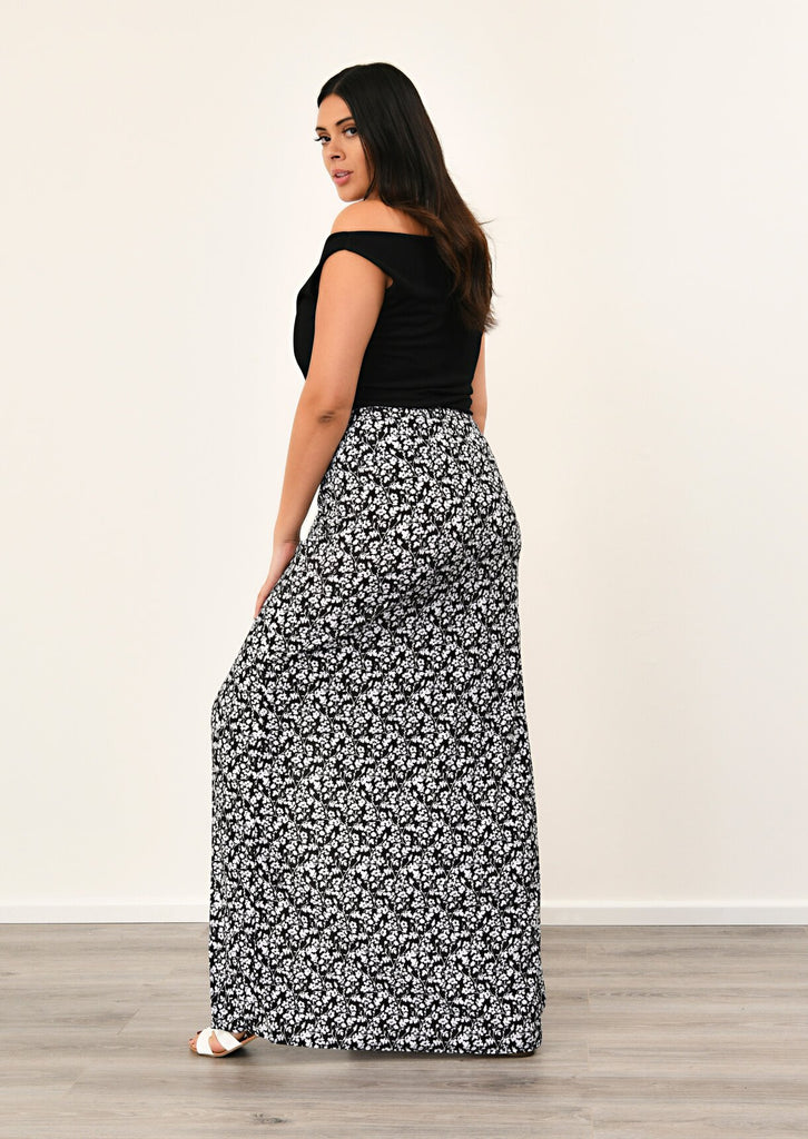 Pink Clove Black Front Tie Split Maxi Skirt view 3