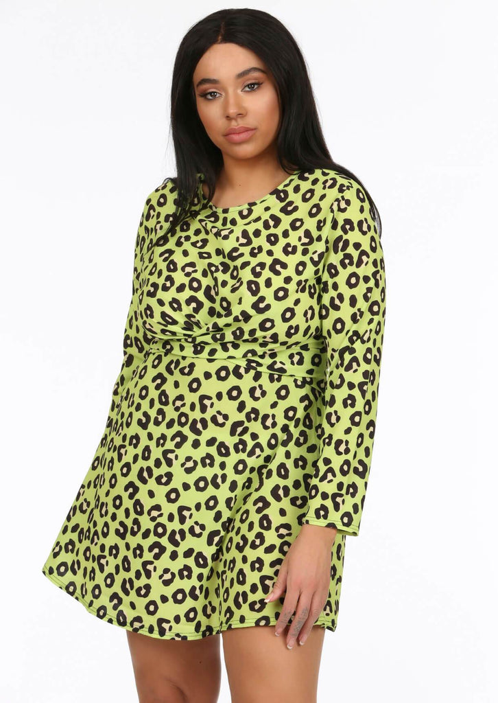 Lime Green Twist Front Skater Dress 1