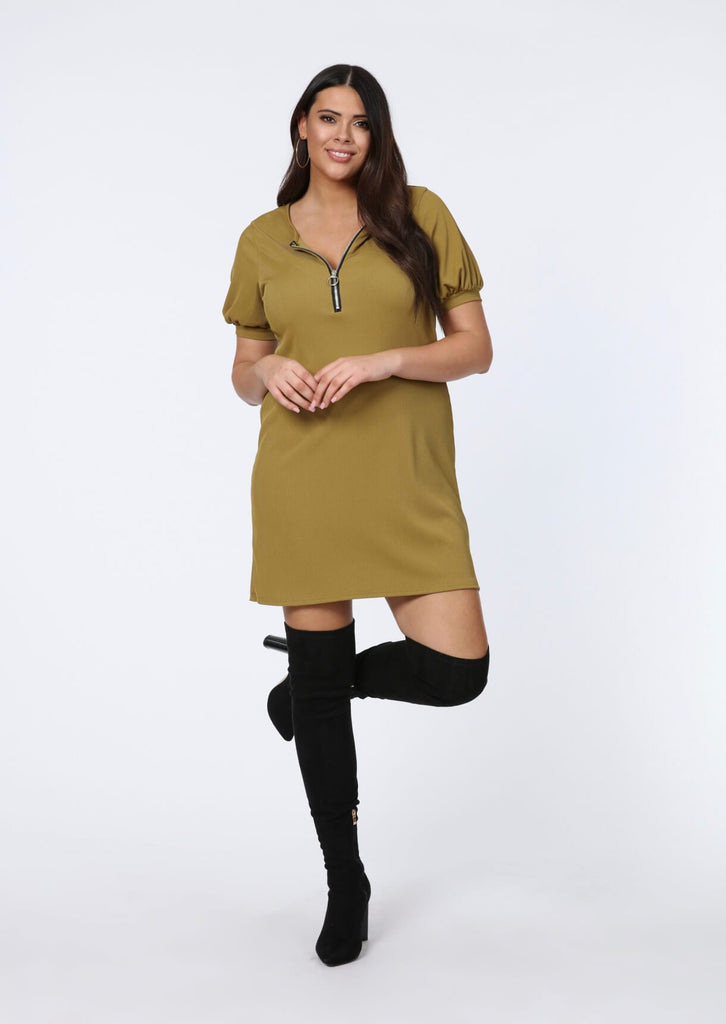 Plus Valentina Olive Ribbed Zip Front Shirt Dress