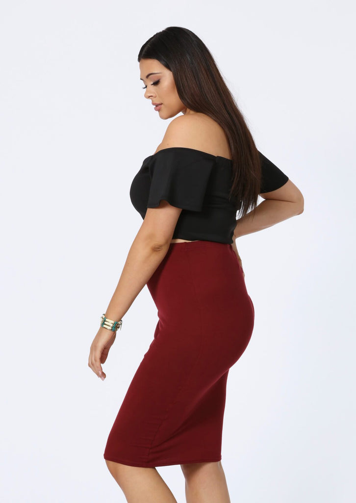 Plus Antonia Midi Skirt in Wine