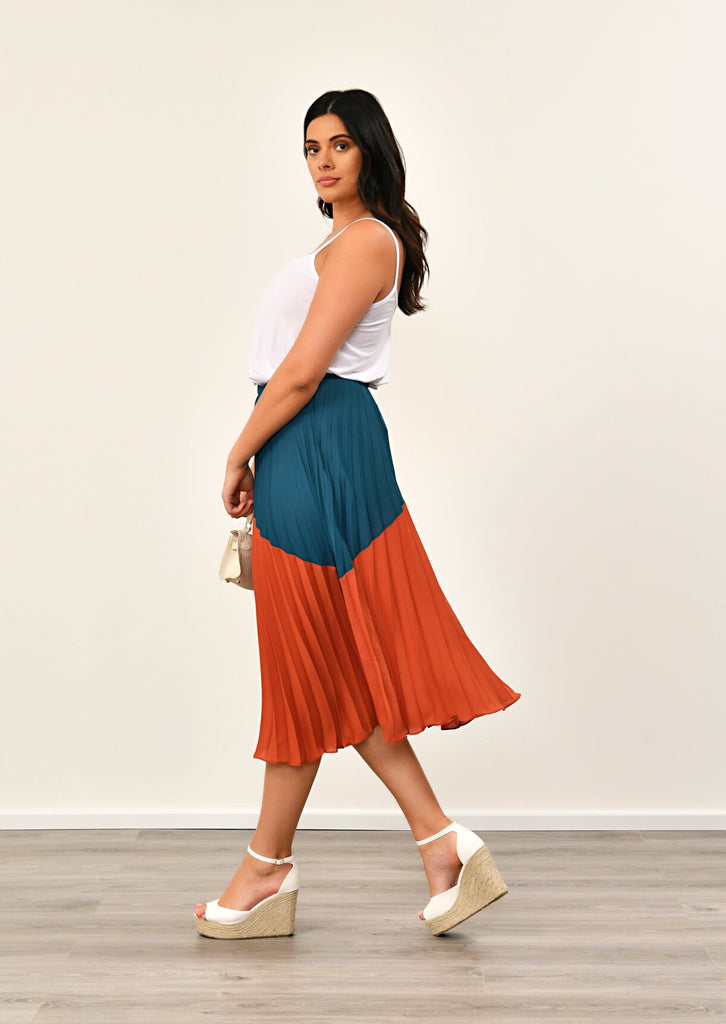 Navy Pleated Maxi Skirt 2 view 2