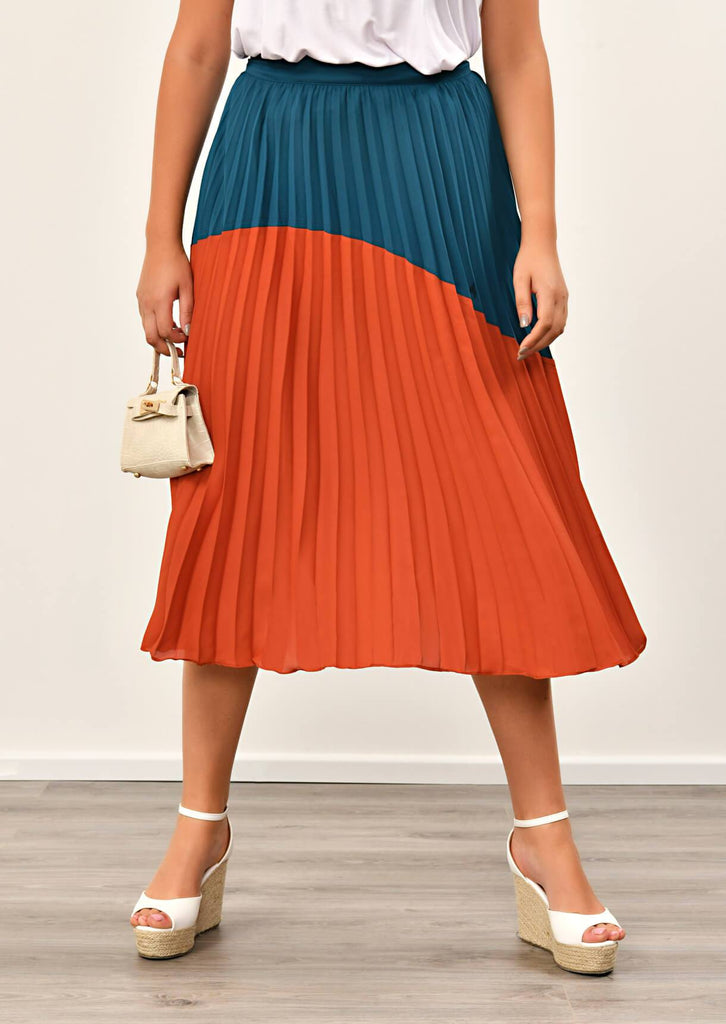 Navy Pleated Maxi Skirt 4 view 4