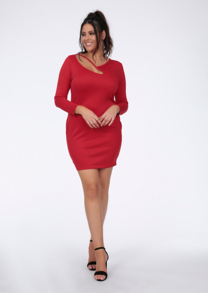 Plus Cerise Red Strap Long Sleeve Dress