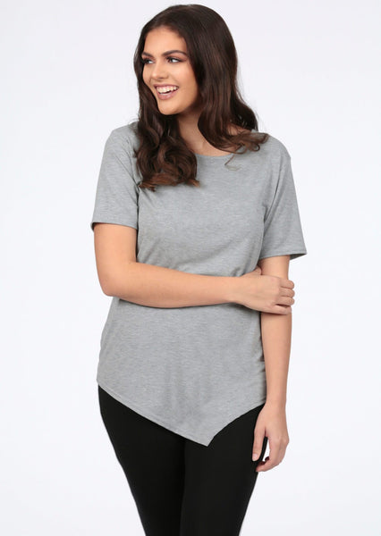 Pink Clove Basic Short Sleeve Grey T-Shirt
