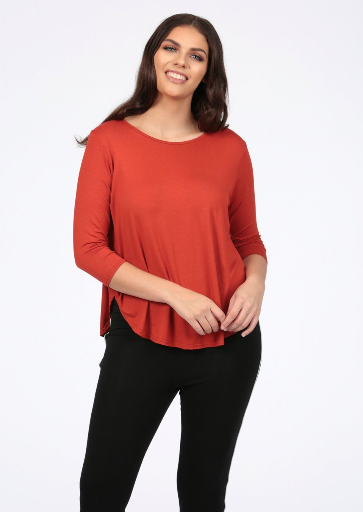 Basic Long Sleeve Rust T-Shirt