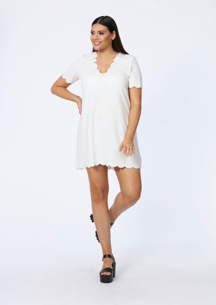 Plus Size Ivory V Neck Scallop Edge T-Shirt Dress view 2