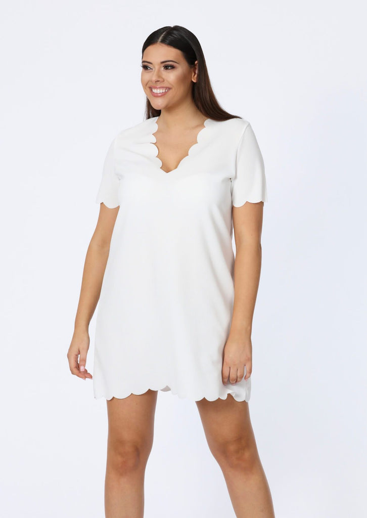 Plus Size Ivory V Neck Scallop Edge T-Shirt Dress view main view
