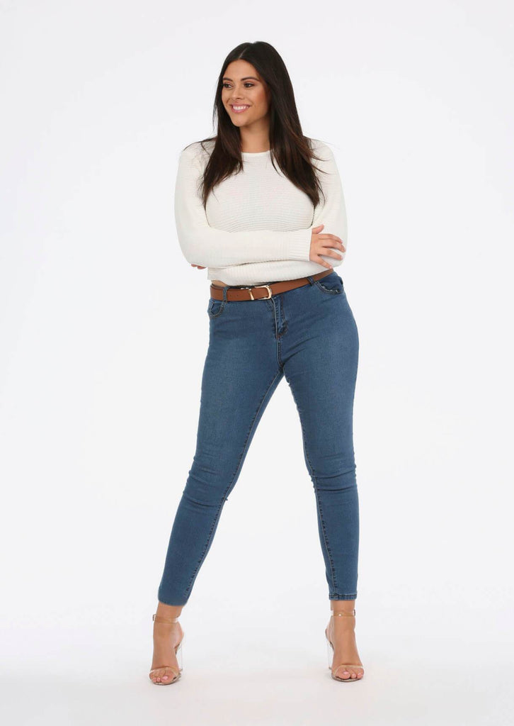 Cream Scoop Neck Long Sleeve Crop Jumper 1