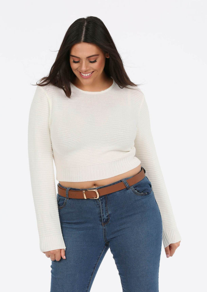 Cream Scoop Neck Long Sleeve Crop Jumper 4 view 4