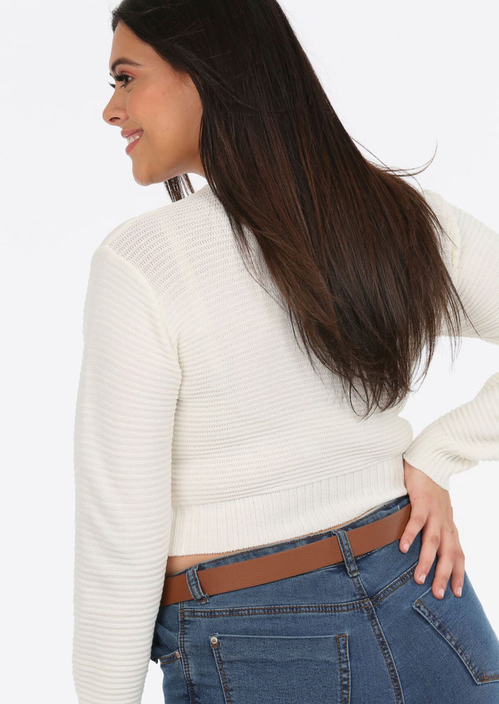 Cream Scoop Neck Long Sleeve Crop Jumper 3 view 3