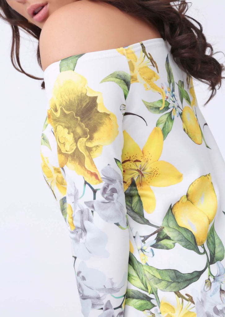 Plus Size Off Shoulder Floral Print Dress
