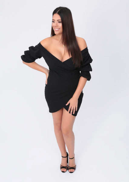 Plus Vivian Off The Shoulder Wrap Front Dress in Black