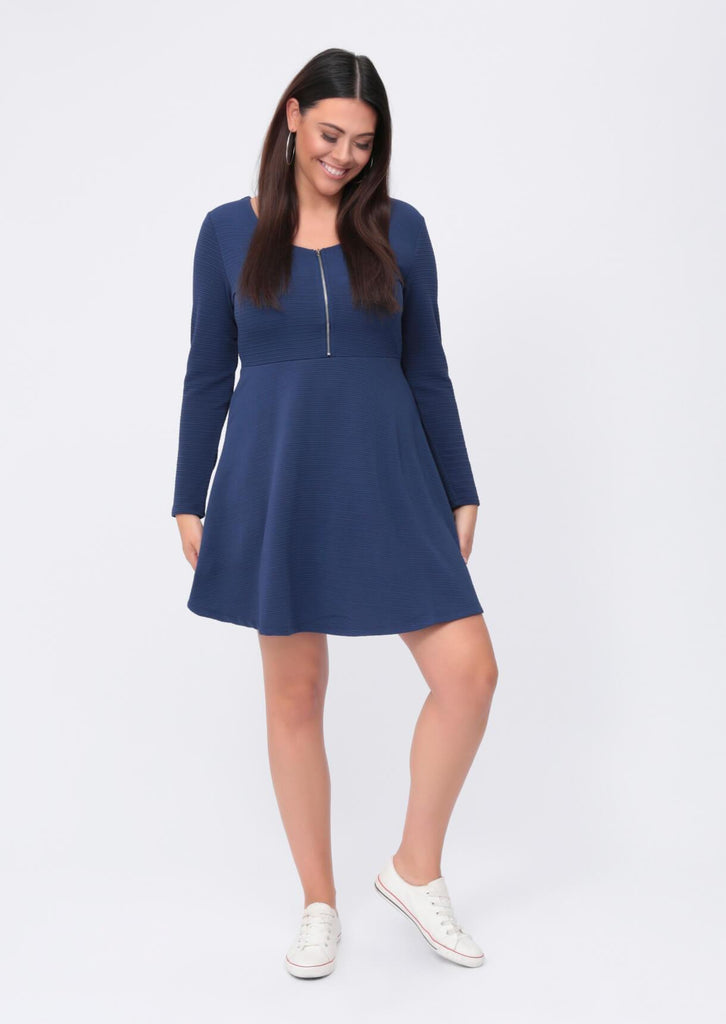 Plus Size Zip Front Long Sleeve Skater Blue Dress