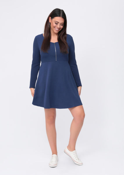 Plus Blake Zip Front Long Sleeve Skater Dress in Blue