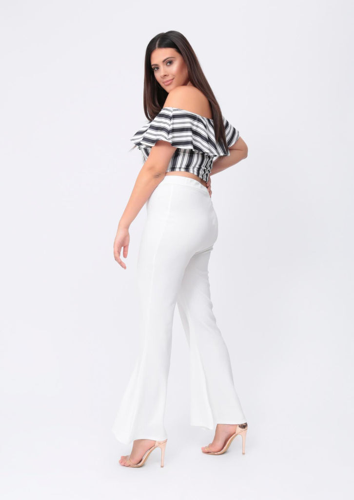 Plus Size Cream Wide Fit Flare Trousers