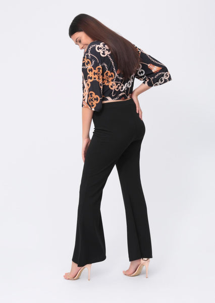 Plus Amirah Wide Fit Flare Trousers in Black