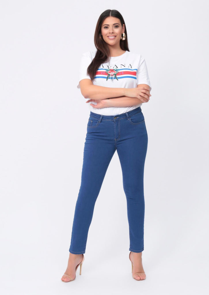 Plus Size Slim Leg Light Blue Jeans