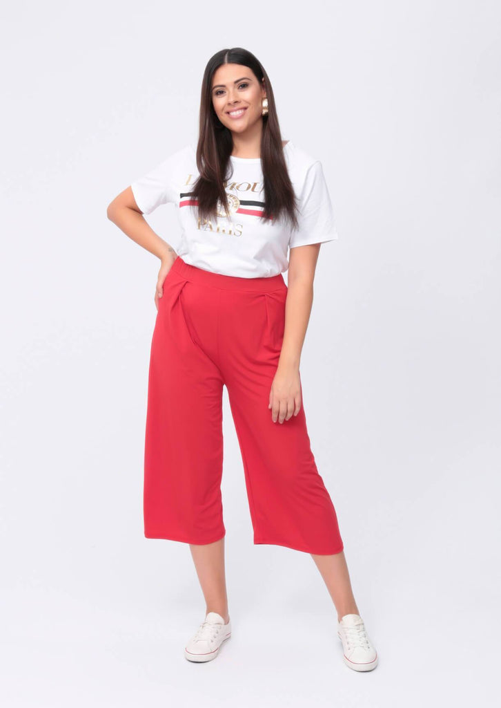 Plus Melania Wide Leg Culotte in Red