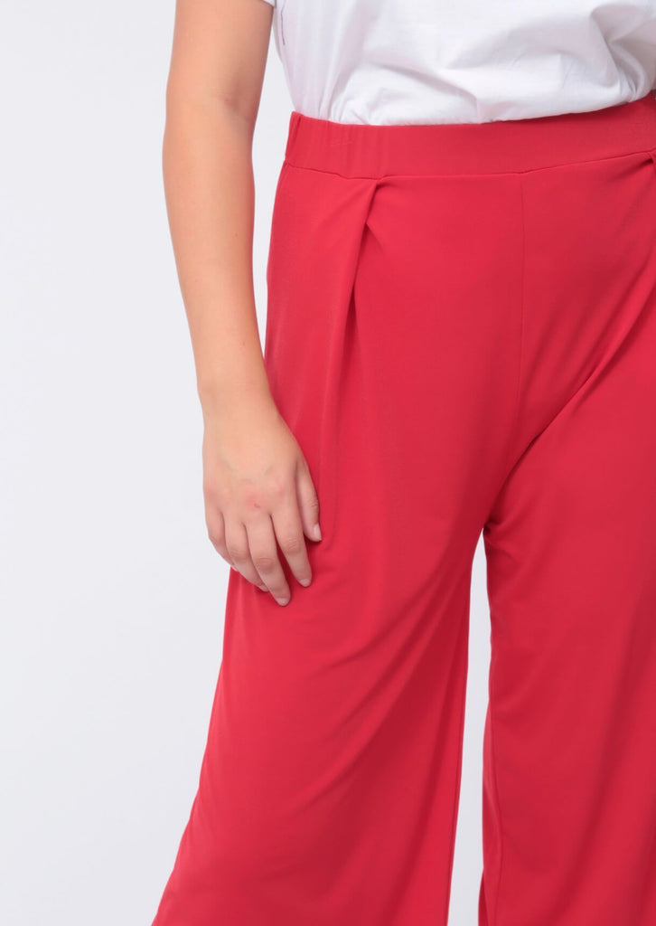 Plus Melania Wide Leg Culotte in Red view 4