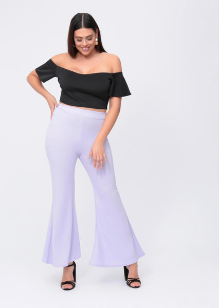 Plus Amirah Wide Fit Flare Trousers in Lilac