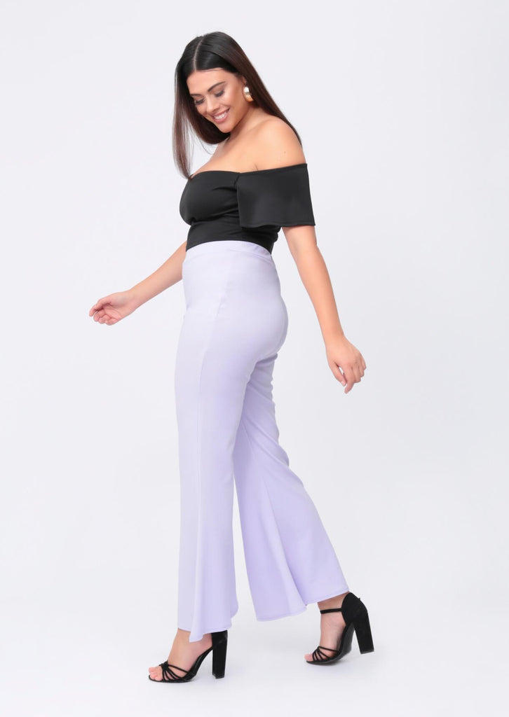Pink Clove Lilac Wide Fit Flare Trousers view 2
