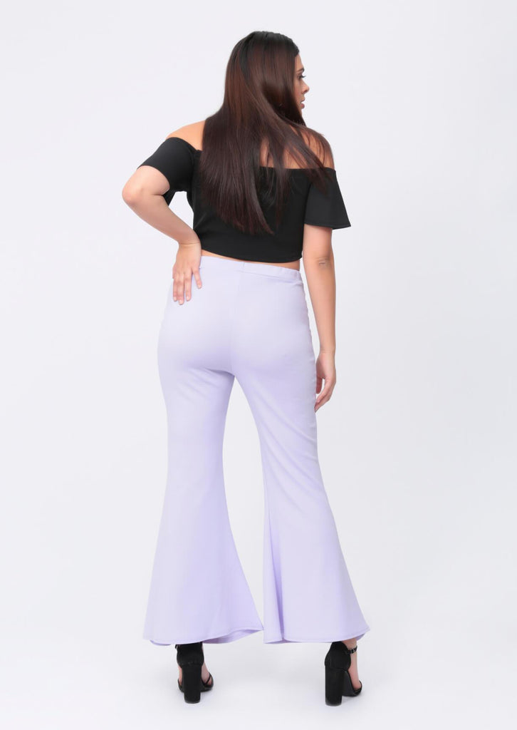 Pink Clove Lilac Wide Fit Flare Trousers view 3