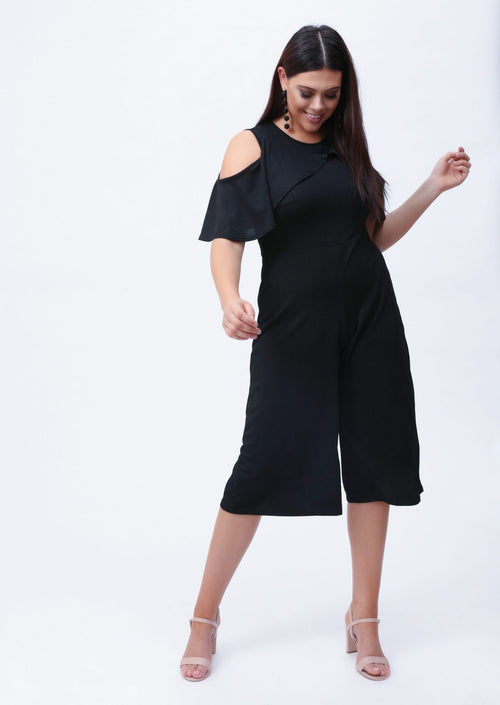 Plus Katara Cold Shoulder Cullotte Jumpsuit in Black