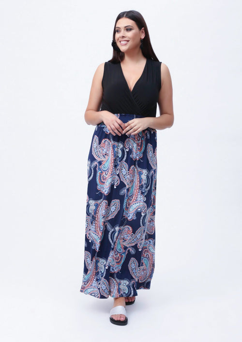Plus Dita Wrap Front Maxi Dress in Paisley Print