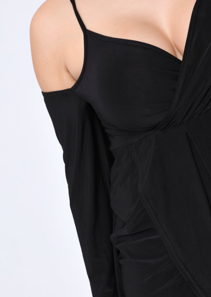 Plus Size Cold Shoulder Wrap Front Dress in Black view 2