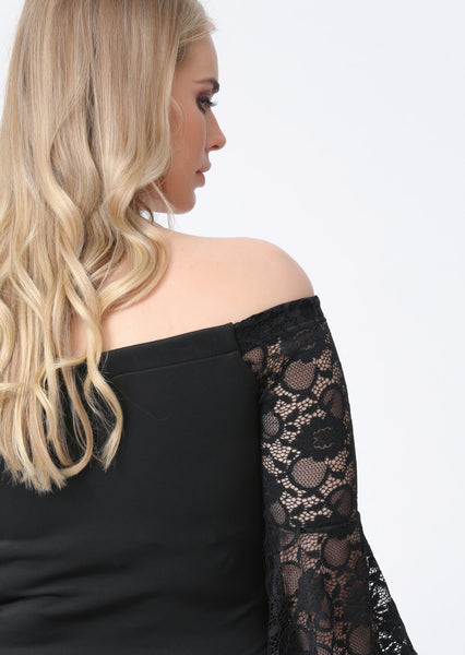 Plus Mariah Lace Angel Sleeve Bardot Top in Black