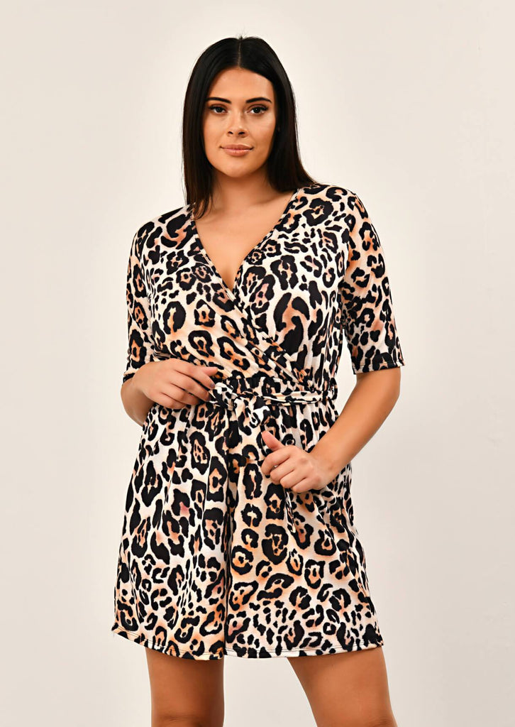 Leopard Low V-Neck Playsuit 1