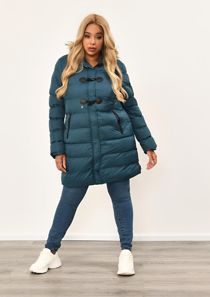 Teal Long Padded Jacket With Fur Hood 1 view 3
