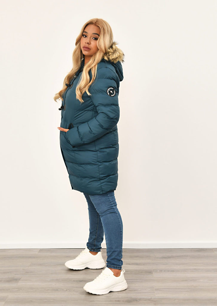 Teal Long Padded Jacket With Fur Hood 2 view 4