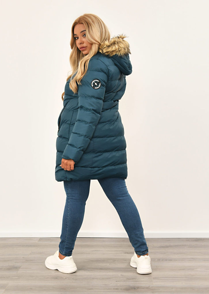 Teal Long Padded Jacket With Fur Hood 3 view 2