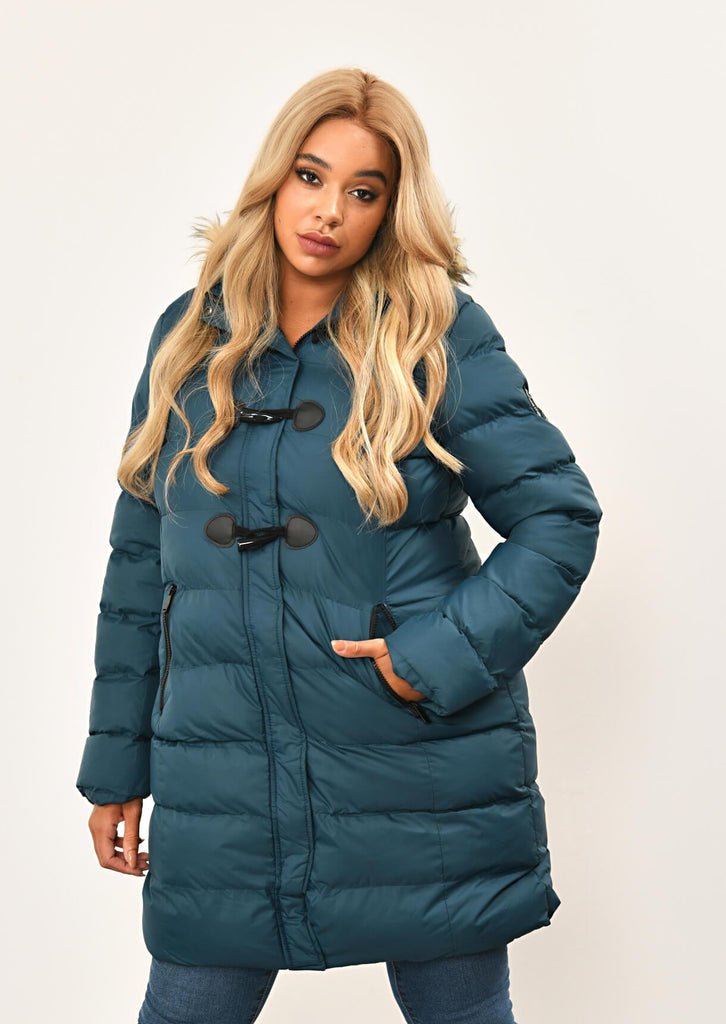 Teal Long Padded Jacket With Fur Hood 4