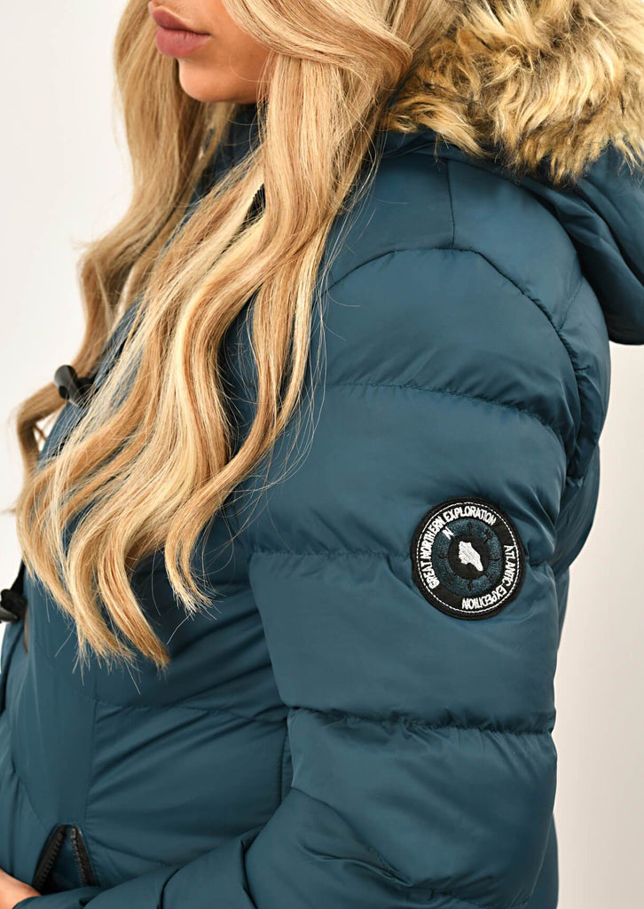 Teal Long Padded Jacket With Fur Hood 5 view 5