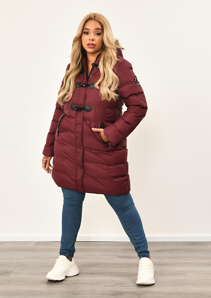 Berry Long Padded Jacket With Fur Hood 1 view 3