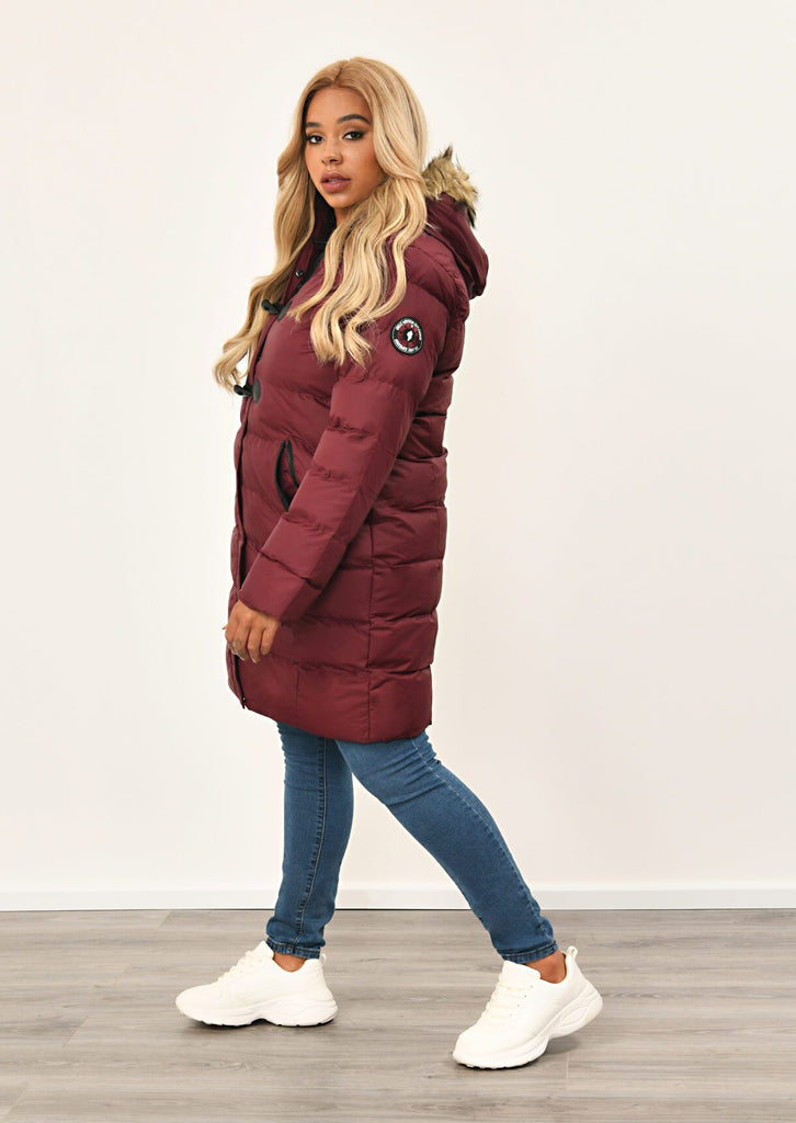 Berry Long Padded Jacket With Fur Hood 2 view 4