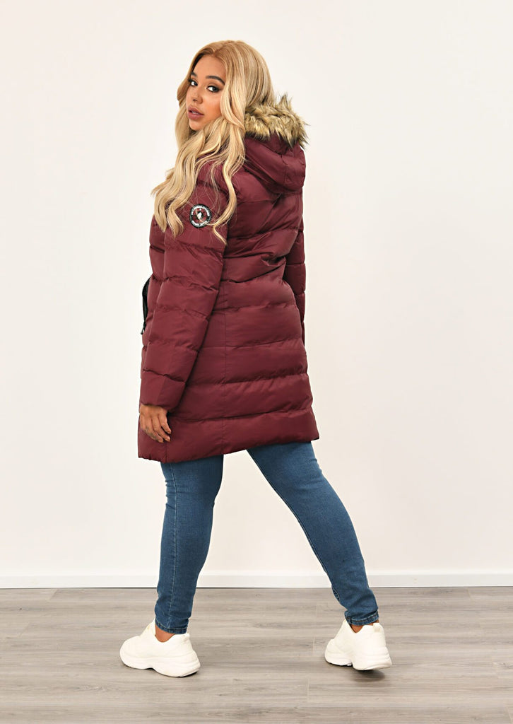 Berry Long Padded Jacket With Fur Hood 4 view 2