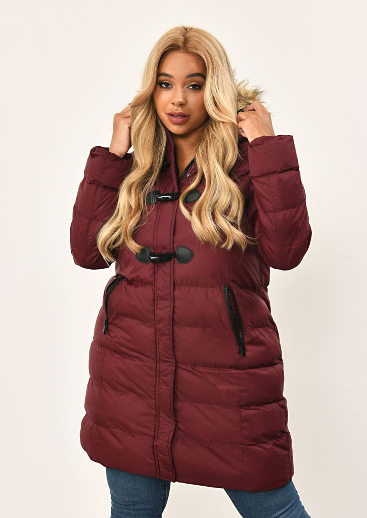 Berry Long Padded Jacket With Fur Hood 3