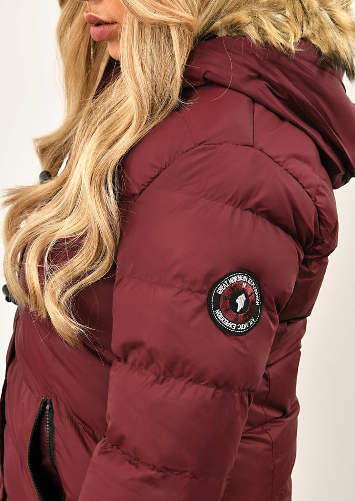 Berry Long Padded Jacket With Fur Hood 5 view 5