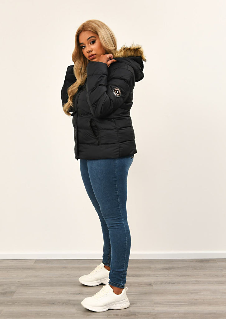 Black Toggle Padded Jacket With Fur Hood 4 view 4