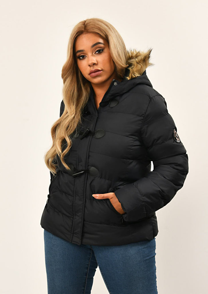Black Toggle Padded Jacket With Fur Hood 1 view main view