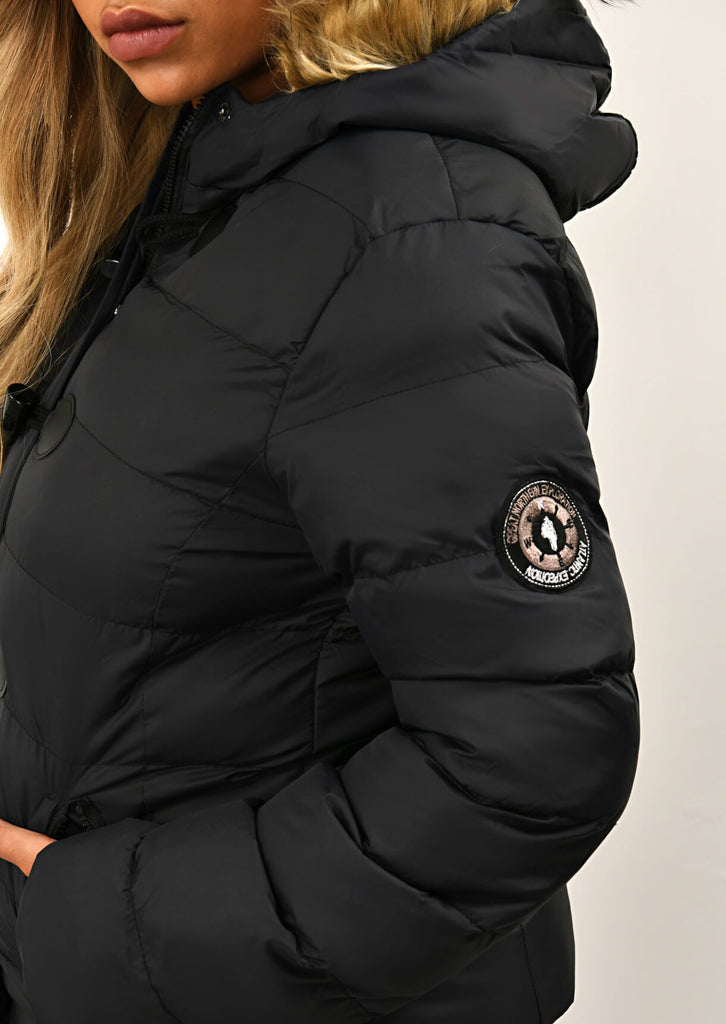 Black Toggle Padded Jacket With Fur Hood 5 view 5