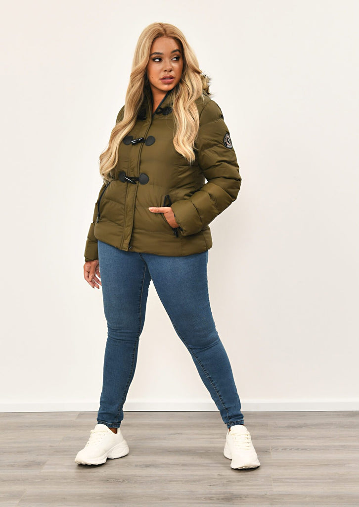 Khaki Toggle Padded Jacket With Fur Hood 2 view 2