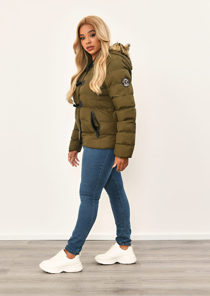 Khaki Toggle Padded Jacket With Fur Hood 3 view 3